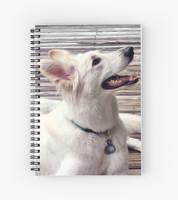 Spiral Notebook White German Shepherd Dog by lady-cybercat