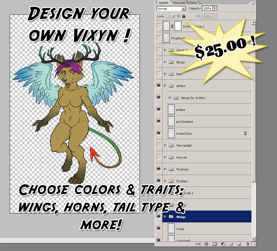 Design your own Vixyn ! $25.00 by lady-cybercat