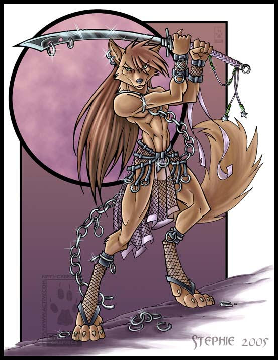Bishie Wolf with Sword Colored by lady-cybercat