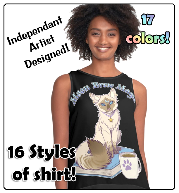 Moon Brew Magic Cute Kitty and Coffee Shirts by lady-cybercat