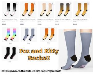 Fox and Cat Paw Socks !