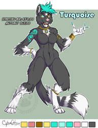 Tuxedo Cat Turquoise SOLD