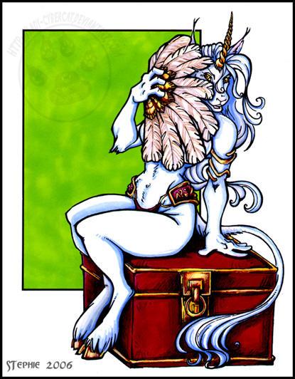 Unicorn Girl With Fan by lady-cybercat