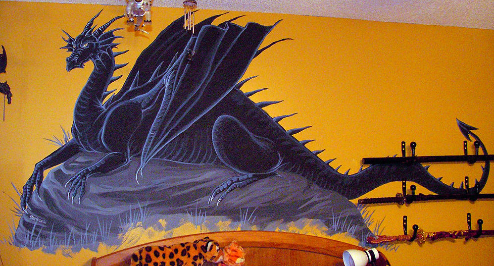 Dragon mural by lady cybercat on deviantart for Dragon mural wallpaper