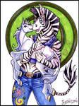 Zebra with baby unicorn by lady-cybercat