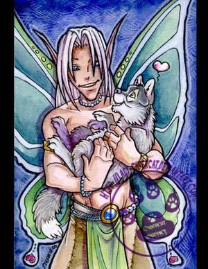 Fairy boy with wolf cub