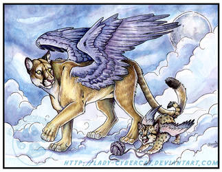 Winged Puma and cub by lady-cybercat