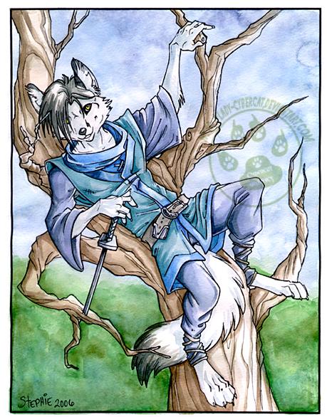 White Fox in a dead tree by lady-cybercat
