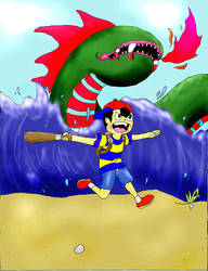 Ness and the Kraken by SkellyBellie