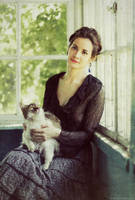 with her cat by NataliaCiobanu
