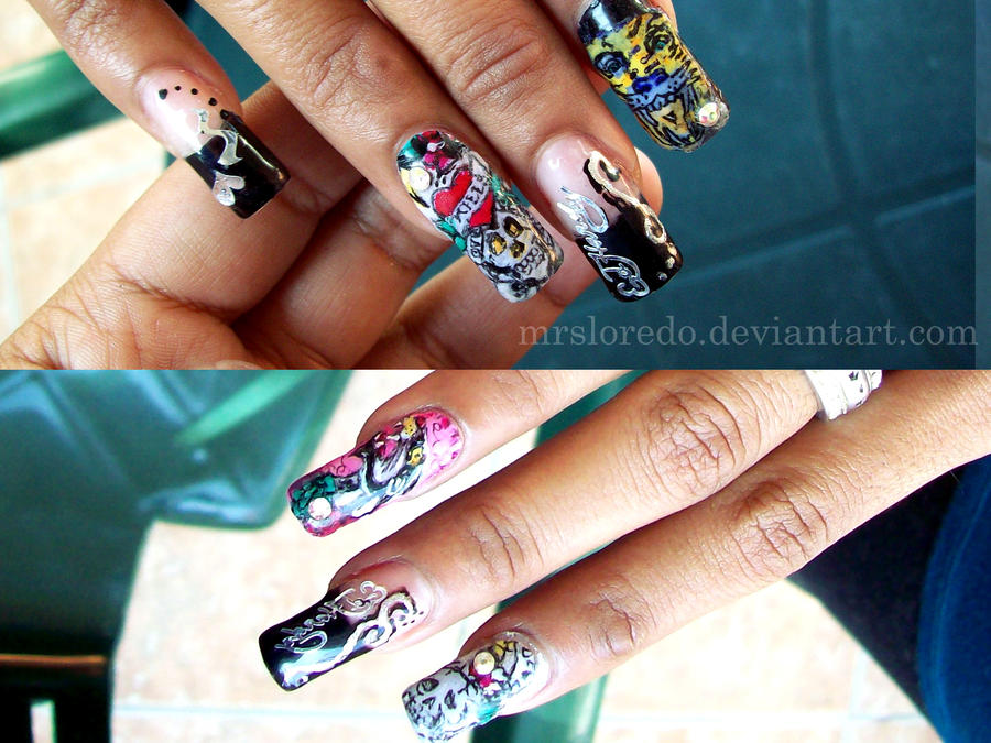Ed Hardy nails by mRSLoREDO on DeviantArt