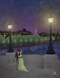Lovers on a Paris Bridge