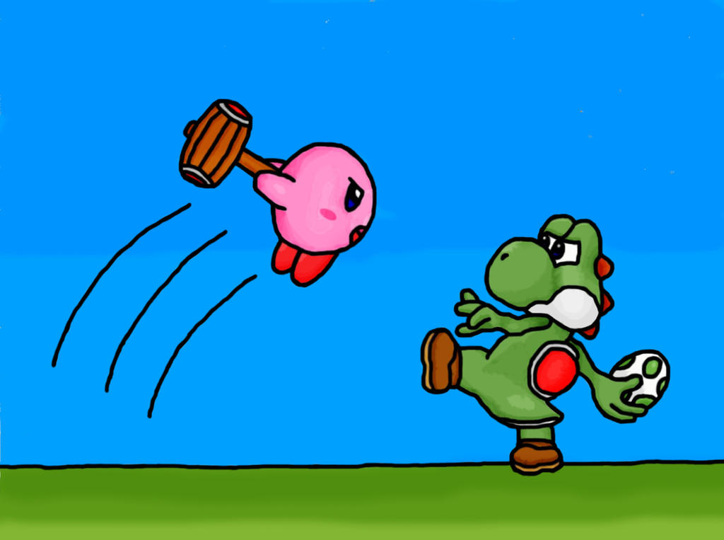 Kirby Vs. Yoshi by Aidec-Naberrie on DeviantArt
