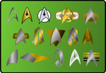 Star Trek insignia and  combadges