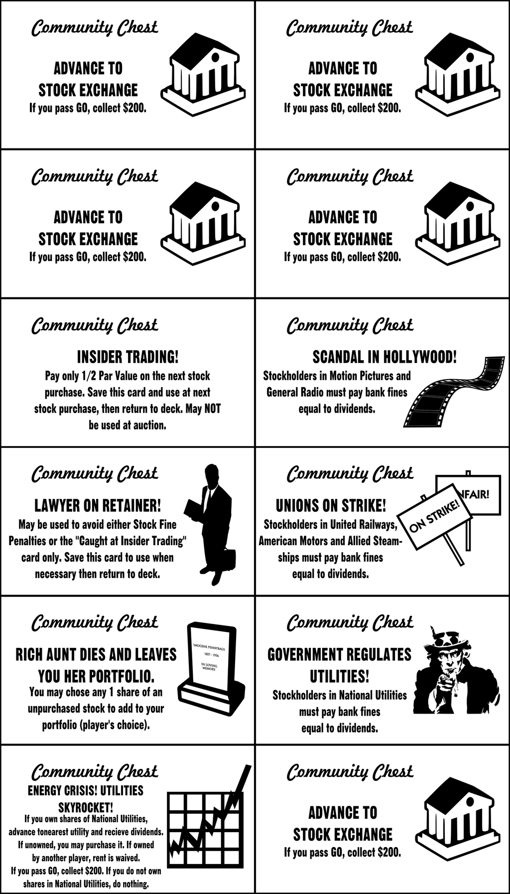 Monopoly Stock Exchange Community Chest Cards