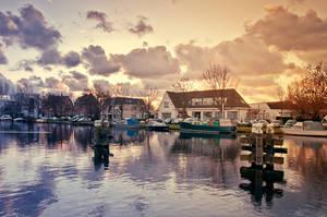 Nederland en de warme winter zonsondergang
