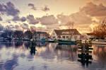Nederland en de warme winter zonsondergang by PatiMakowska