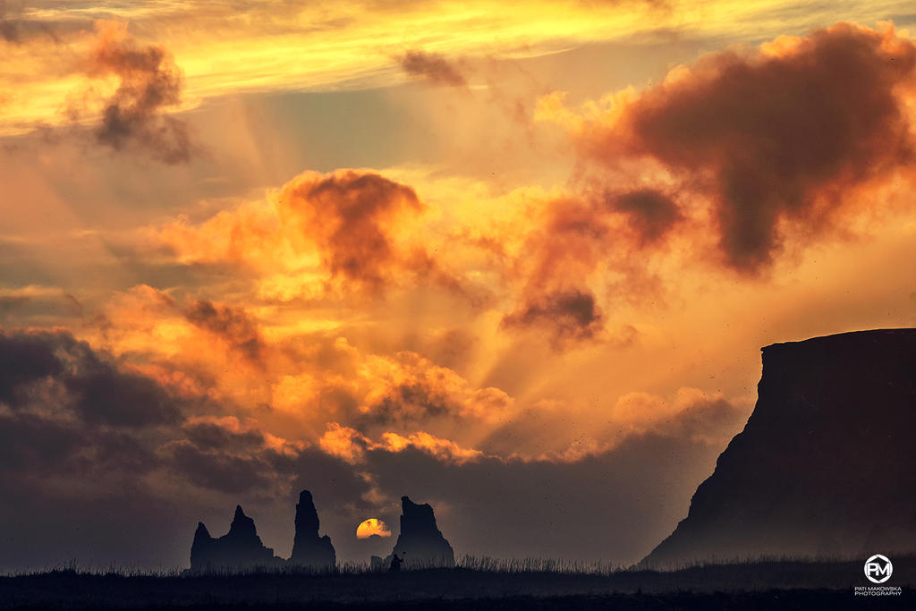 Reynisdrangar with the winter Sun by PatiMakowska