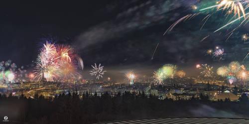 Reykjavik in New Year Eve 01.01.2019