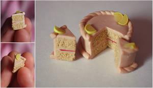 Miniature Polymer Clay Strawberry-lemon Cake