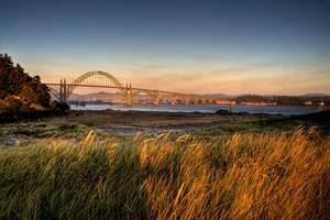 Yaquina Bay Bridge at Sunset by futureplug