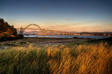 Yaquina Bay Bridge at Sunset by futureplug