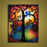 Bird Paintings Whimsical Tree by hjmart