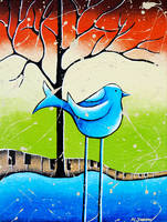 Blue Bird Painting Love Song by hjmart