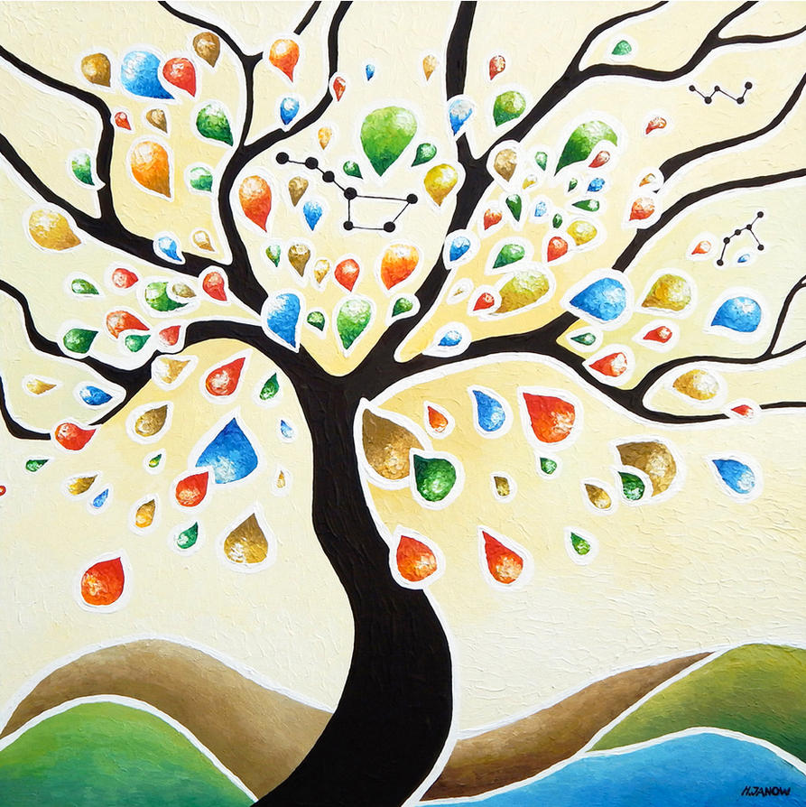 Wall Art Decor - Tree of Life Original Painting by hjmart