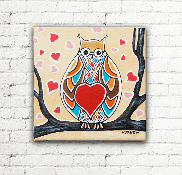 Personalized Valentine's Day Gift, Owl Painting by hjmart