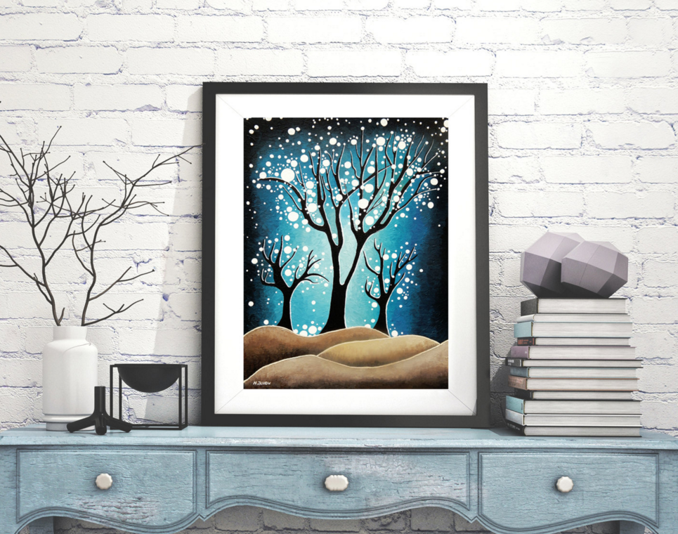 Blue and Brown Tree Print Wall Art by hjmart