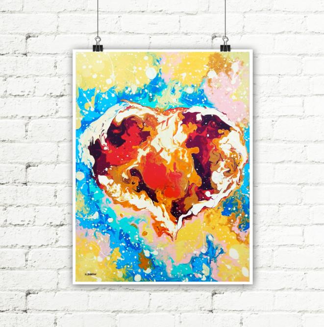 Red Heart Wall Decor Art Print by hjmart