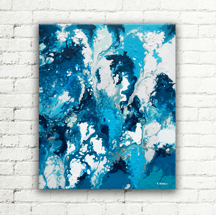 Blue Rain Acrylic Pouring Painting on Canvas by hjmart