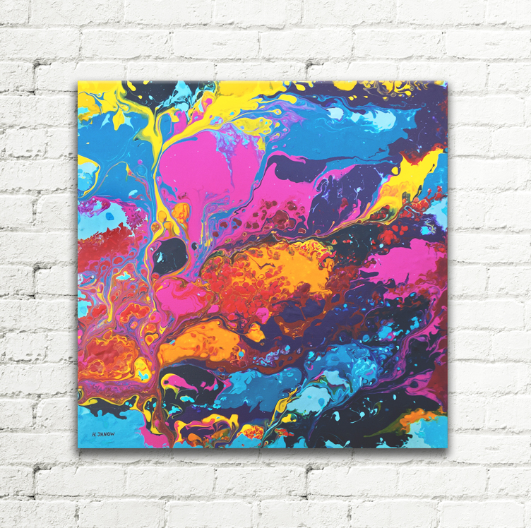 Colorful Dreams Acrylic Pouring Painting on Canvas by hjmart