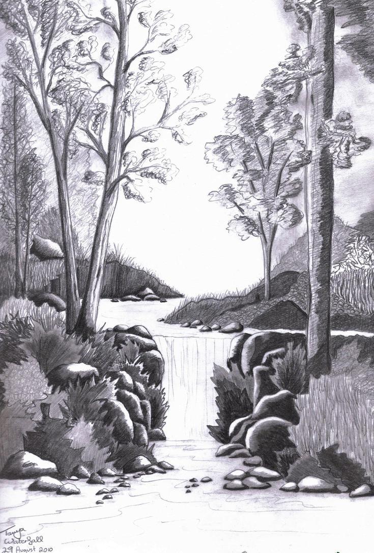 Forest Waterfall - Sketch by Elentarri on DeviantArt