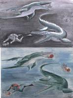 Sea Monsters by Elentarri