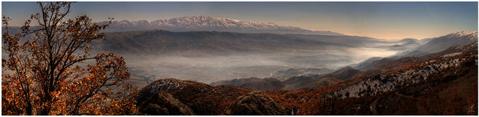 Foggy Autumn Panorama by ZeeGrizzly