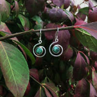 Ruby Zoisite and Sterling Silver Earrings