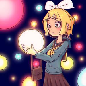 Kagamine Rin orbs of light