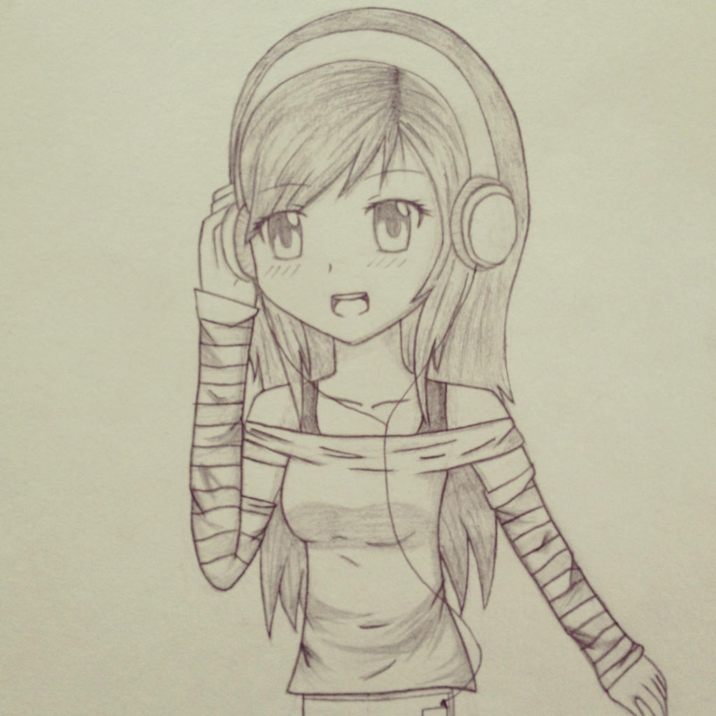 Anime Girl With Headphones By XAngelColorz On DeviantArt