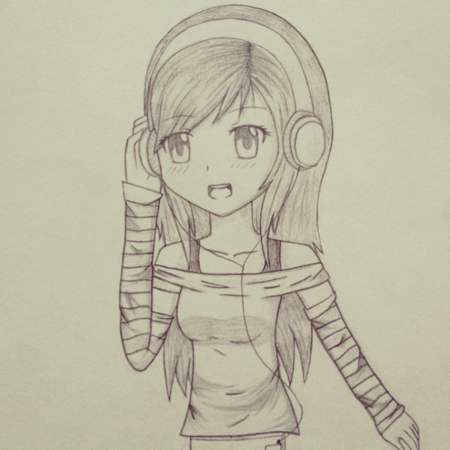 Uncategorized Simple Anime Girl Drawing anime girl with headphones by xangelcolorz on deviantart xangelcolorz
