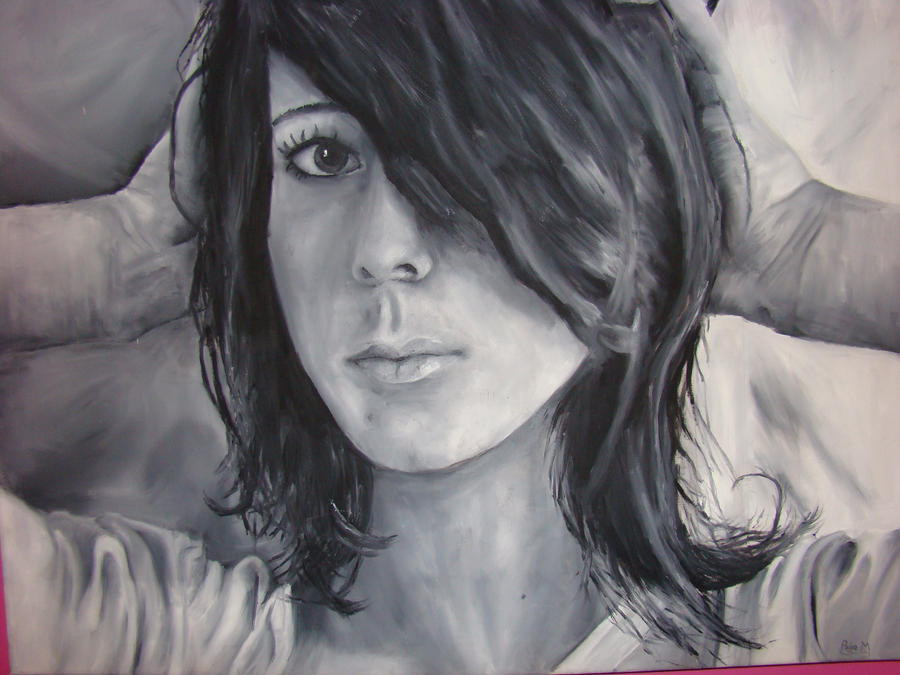 Oil Painting Portrait Black And White