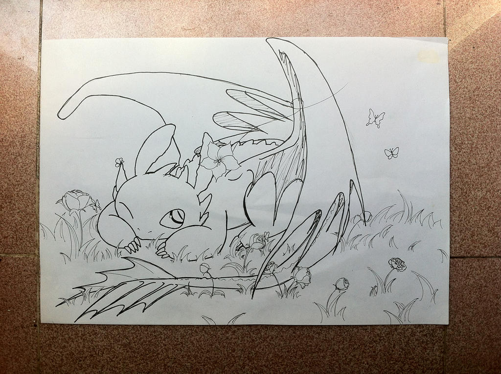 Toothless -LineArt by FluffyBunny710