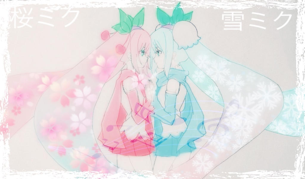 Sakura And Snow Miku by FluffyBunny710