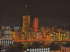 Explosion of Light in the Night City by Urqueh