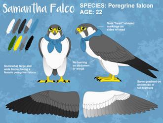 Samantha Falco Reference Sheet (NEW) by PeregrineFalconLady