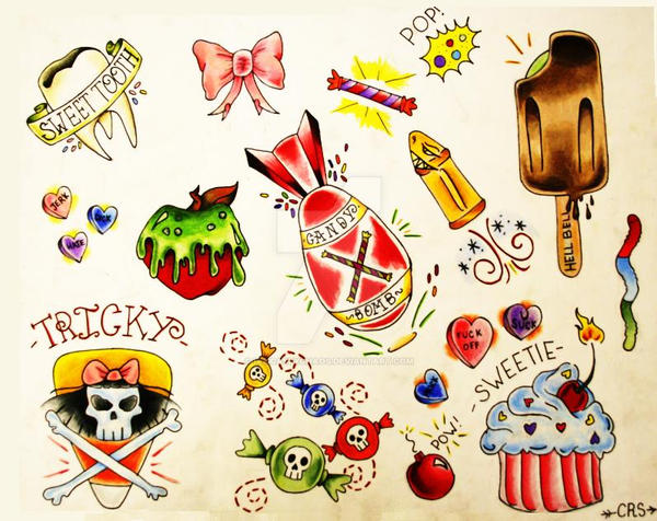 Colored Grim And Girly Punk Tattoo Design | Cool drawings ...  |Cool Drawings Flash Girly