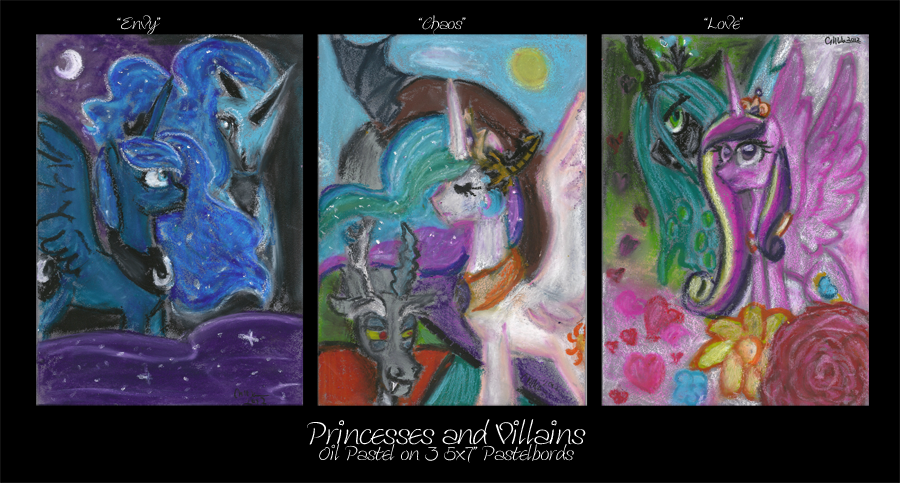 Oil Pastel Series: Princesses and Villains by prismaya