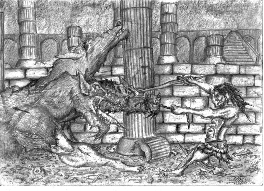 hercules vs cerberus by ayillustrations on DeviantArt