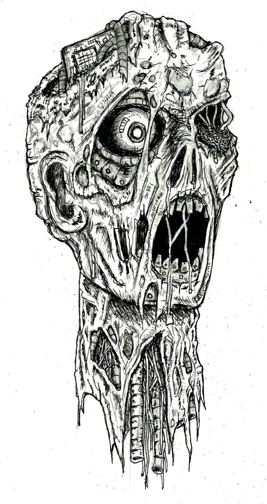 Zombie Face Line Drawing : Robot zombie by ayillustrations on deviantart